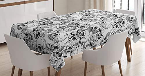 ABAKUHAUS Feier Tischdecke, Skizzieren Sie Totenkopf, Für den Inn und Outdoor Bereich geeignet Waschbar Druck Klar Kein Verblassen, 140 x 200 cm, Weiß und Schwarz