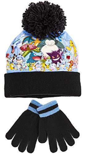 Pokemon Mütze Und Handschuhe Sets Für Kinder, Original Merchandise Jungen Mütze, Winter Bommelmütze Für Mädchen, Superweicher Warmer Strickmütze, Geschenk Für Kleinkinder (Schwarz)