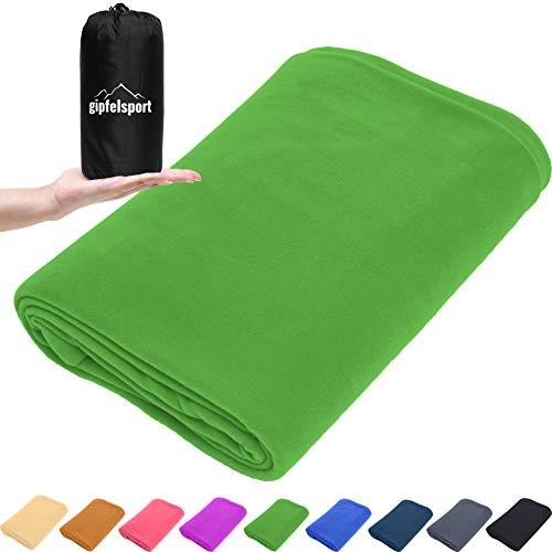 gipfelsport Mikrofaser Fleece Decke mit Schlafsackfunktion I Größe 185 x 150cm, 690 g I Microfaser Camping Deckenschlafsack I grün