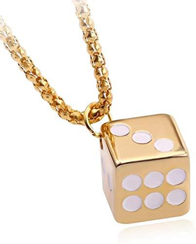 NC190 Polyeder Gold Würfel Metall Anhänger Halskette für Geschenke Unisex Creative Brettspiel Spielzeug Halskette Statement Schmuck