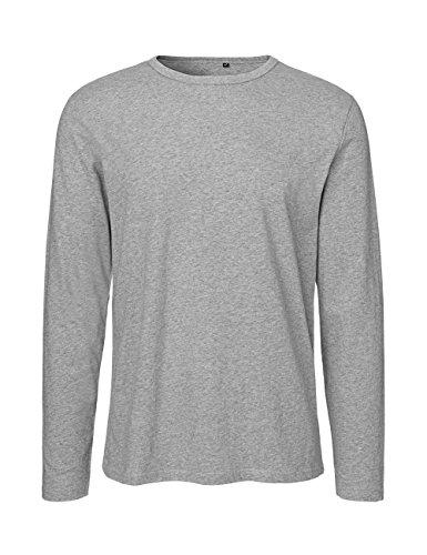 Green Cat- Herren Langarm T-Shirt, 100{bd0fc7302c504ebd6afa8d5f1904e4a170901d027421ccfe58876bbd6ce21d74} Bio-Baumwolle. Fairtrade, Oeko-Tex und Ecolabel Zertifiziert, Textilfarbe: grau, Gr.: L