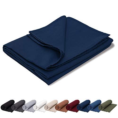 EllaTex Renforce Bettlaken Haustuch aus 100% Baumwolle ohne Gummizug, Farbe: Dunkelblau, Größe: 140 x 200 cm