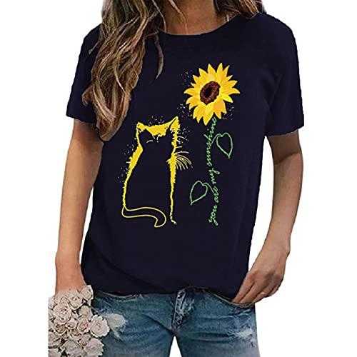 SLYZ Camiseta De Mujer De Manga Corta con Estampado De Cuello Redondo De Talla Grande De Verano para Mujeres Europeas Y Americanas
