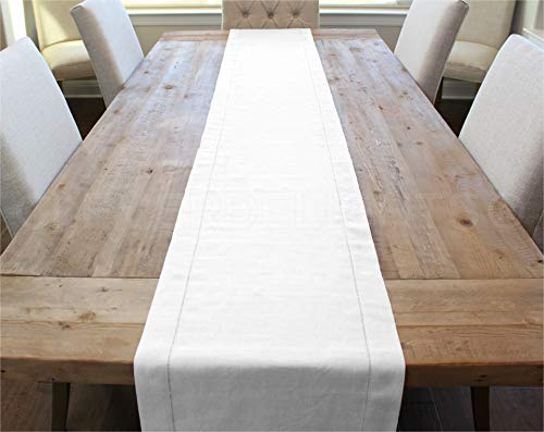 CleverDelights White Linen Hemstitched Table Runner - 16' x 108' - 100% Pure Linen