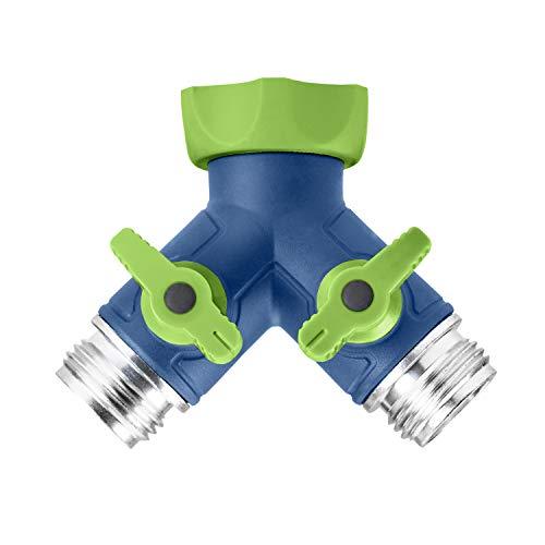 Conector de manguera de jardín Green Mount, conector de manguera en Y, divisor de fácil agarre con válvulas de cierre (dos vías)