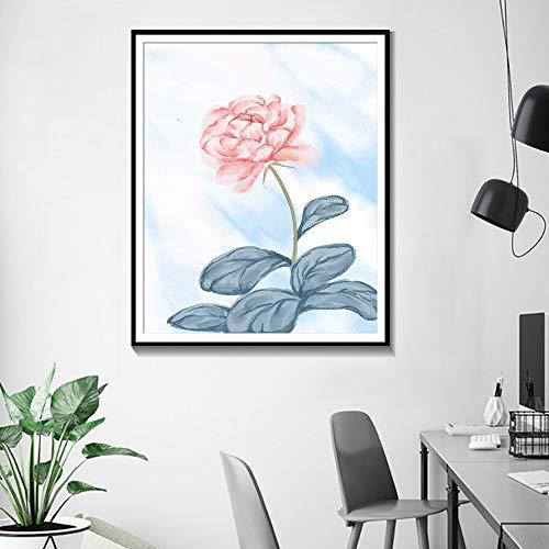 ganlanshu Rahmenlose Malerei Abstrakte Aquarellplakate und -drucke Blumen Moderne Kunst Wohnzimmer Ölgemälde HauptdekorationZGQ3518 60X80cm