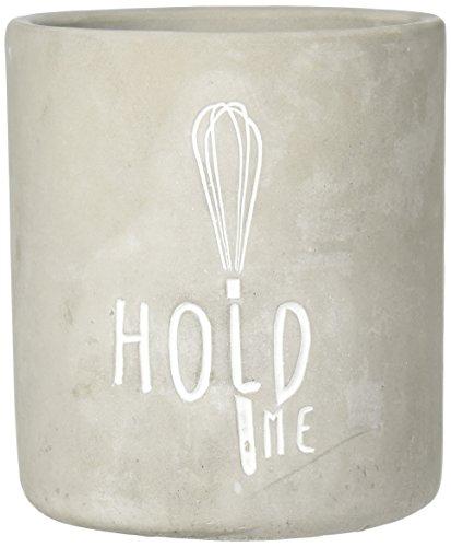 Home Essentials 79910 Hold Me Round Utensil Crock, 6-inch Depth, Gray