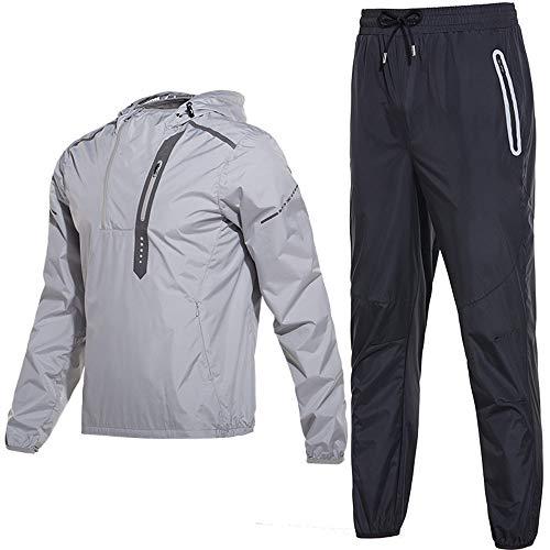 FF.C (厳選品) サウナスーツ メンズ フード付き 脂肪燃焼 発汗 運動スーツ 上下セット (シルバー, XXL)