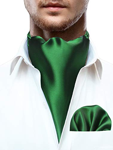 JEMYGINS Herren Krawattenschal Einfarbig Ascot Krawatte Grün Cravat für Herren und Einstecktuch Set(1)