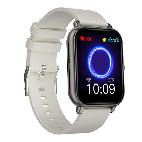 BNMY Smartwatch Llamada Bluetooth Reloj Inteligente Deportivo Impermeable IP67 Pulsera Actividad Inteligente con Monitor Sueño Controlador Música para Hombre Mujer Y Niños Admite Android Y iOS,Gris