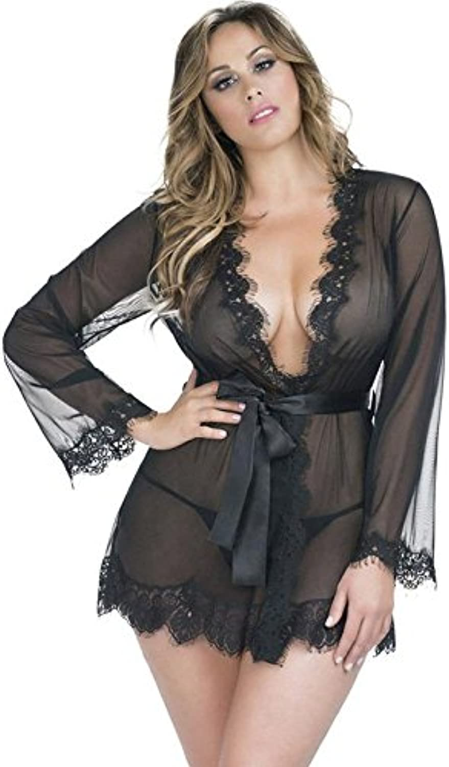 OOFAY Women's Pajamas Lace Cut Nightgown Thongs Pajamas Mini Lingerie
