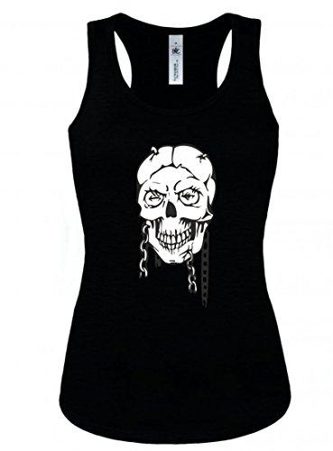 Camiseta de tirantes con calavera femenina con collares y pelos, esqueleto, rockero, club de moto, gótico, motero, calavera, escuela antigua, para hombre y mujer Negro Para Hombre Talla : Medium