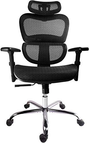 Smugdesk Mesh Adjustable Headrest, Lumbar Support, 3D Armrest Office Chair Dark Black