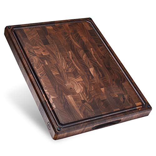 Made in USA, Large End Grain Walnut Wood Cutting Board with Built-in Compartments, Non-slip: 17x13x1.5 with Juice Groove (Gift Box Included) by Sonder Los Angeles
