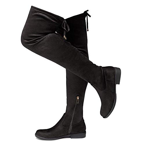 Herstyle Secret Obsession Women's Suede Thigh High Stretchy Boots- Block Heel Side Zipper Back Lace Over The Knee Casual Boots Black 7.0
