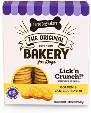 Three Dog Bakery Lick n Crunch Sandwich Cookies Golden Vanilla Flavor Premium Treats for Dogs product image