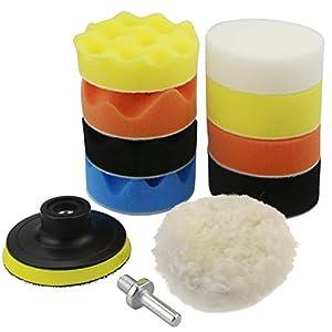 TedGem Esponja Pulir para coche, esponja pulir coche, adaptador accesorio taladro Pulidora Pulido Lana Kit Encerado Para el Coche Encerado Lijado (3 Pulgadas)