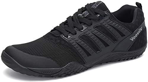 Voovix Hombre Mujer Zapatilla Minimalista de Barefoot Trail Running Unisex Zapatos Descalzos, Negro46