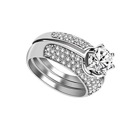 litulituhallo Anillos de boda redondos chapados en platino con diamante solitario