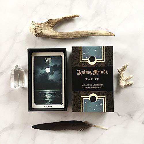 La versión en inglés de Anima Mund Tarot Deck 78 Card Deck, contiene instrucciones en papel, The Natural Deck Mystery Adivination Card Juego secreto principal y secundario Origen dorado