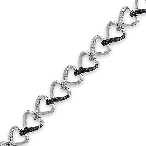 SLV 0.60CT redondo corte negro y blanco D/VVS1 diamante acento pulsera corazón para las señoras en plata de ley 925