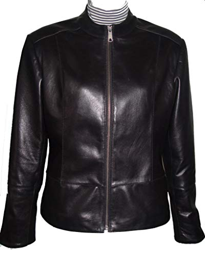 2XL Size 4038 Female Best Black Leather Motorcycle Jackets & Coats Ladies