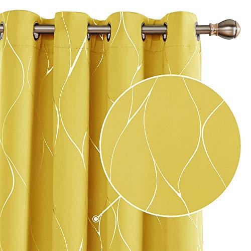 Deconovo Cortinas Opacas con Aislamiento Térmico para Salón Oficina Hotel Decorativas con Ojales 2 Piezas 168x229cm Turquesa