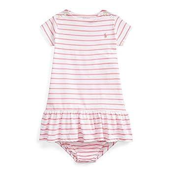Ralph Lauren Baby Girl Striped Jersey Dress & Bloomer 2 Piece Set  LaurenPink 8005 /Multi 18 Months