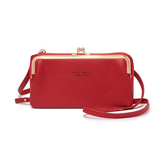 Bolso pequeño para teléfono celular para mujer, ligero de piel sintética, con bloqueo RFID, soporte para tarjetas de crédito, rojo (Rojo), Small