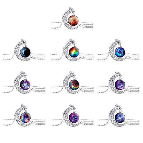 Colgante de Media Luna, 10 Piezas Collares para Mujer, Collar de Cristal de Galaxia, Collar de Luna Colgante para Mujer, Collar de Gemas de Vidrio, para Regalo de Cumpleaños, Regalo de San Valentín