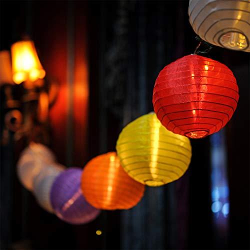 LOKATSE HOME 13 Ft 20 LED Nylon Colorful Paper Lantern String Lights Outdoor Indoor for Weddings, Christmas,Garden, Halloween, Bedroom Party Decoration