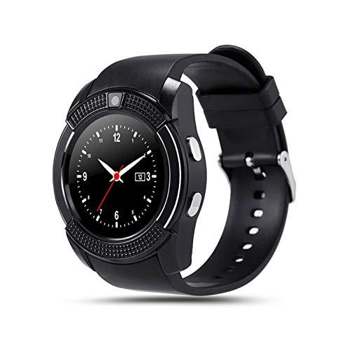 GYY Hombres Smart Watch V8 Tarjeta SIM Cámara De Android Redondeada Respuesta Call Dial Llamada SmartWatch Rate Fitness Tracker (Color : Black)