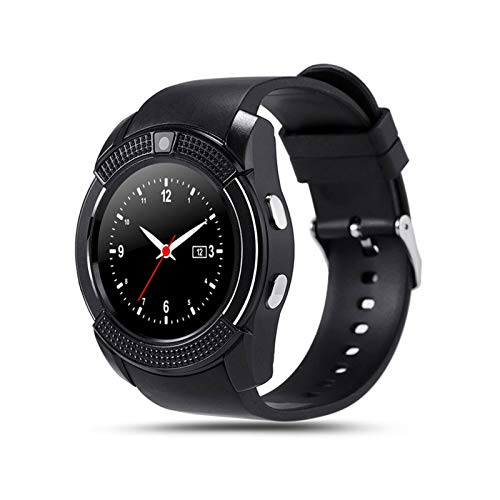 LXF JIAJU Hombres Smart Watch V8 Tarjeta SIM Cámara De Android Redondeada Respuesta Call Dial Llamada SmartWatch Rate Fitness Tracker (Color : Black)