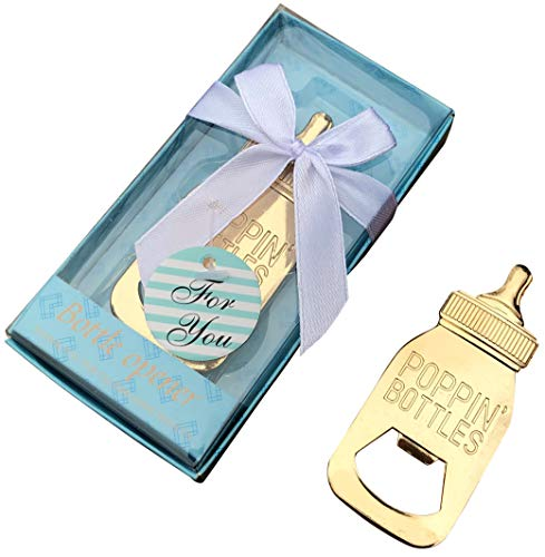 30 Pack Baby Shower and Gender Reveal Bottle Openers Party Favors Souvenirs for Guests with Gift Boxes for Boy and Girl Newborn (Blue - Baby Bottle, 30)