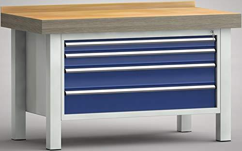 KLW Schwerlastwerkbank Industriewerkbank 1500x800x900 mm LxTxH mit 4 Schubladen Vollauszug WPX01N-1500M100-E7015
