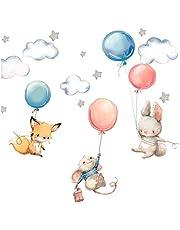 Little Deco DL312 - Adhesivo de pared para habitación de bebé, diseño de zorro, conejo y ratón I con globos y estrellas