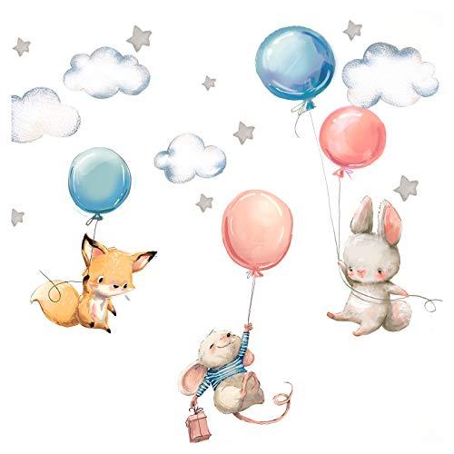 Little Deco Wandtattoo Babyzimmer Hase Fuchs und Maus I Wandbild L - 148 x 82 cm (BxH) I Luftballons Sterne Kinderbilder Junge Kinderzimmer Mädchen Aufkleber DL312