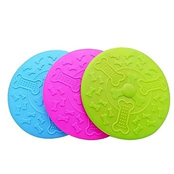 BlueBubble Shop Chien Frisbees en Caoutchouc Souple Jouet pour Animaux de Compagnie Indestructible Flyer Flying Disc - Frisbees de Couleur vive pour Les Chiens à Voir (Small, Blue)