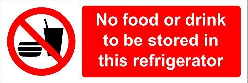 Geen voedsel of drank te bewaren in deze koelkast veiligheidsbord - Zelfklevende sticker 150mm x 50mm