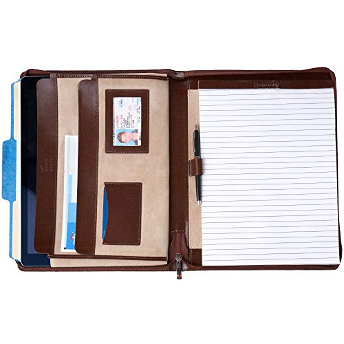 Alpine Swiss Genuine Leather Writing Pad Portfolio Business Case for Left & Right Handed Use with Tablet Sleeve Oak Wood Brown