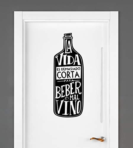 Vinilo la vida es demasiado corta para beber mal vino. Decorativo para vitrinas, vinoteca, cocina, pared, armario, frigorifico. (Negro, 60x15)
