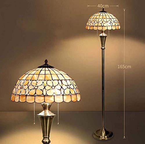 Vintage Style Floor Lamp, 2 Light, Handmade Shell Mosaic Floor Uplighter, Antique Rustic Base Decor LED Standing Light for Bedroom Living Room Office Reading(40 165cm),D16inch Floor Light