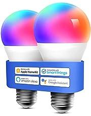 meross Intelligente led-gloeilamp, dimbaar, meerkleurig, E27, 9 W, Smart Light RGBCW, compatibel met Homekit, SmartThings, Amazon Alexa, Google Home, IFTTT, 2 stuks