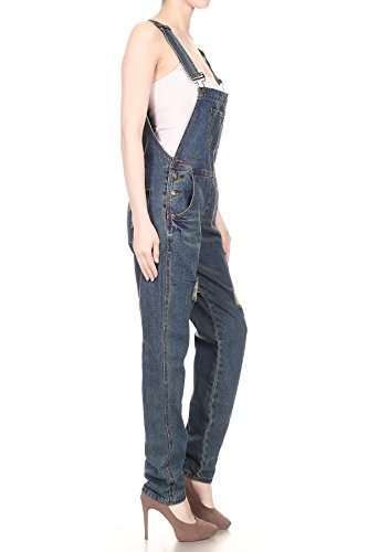 Women's Distressed Denim Overalls with Tapered Leg and Pockets 6