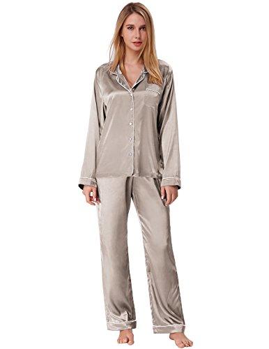 Zexxxy Schlafanzug Damen Pyjama Satin Lange Button-Down Nachtwäsche mit Hosen Hausanzug Sleepwear (X-Large, Grau)