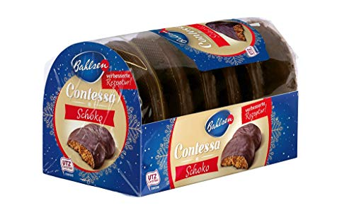 Bahlsen Contessa Schoko – leckere runde Lebkuchen – mit edelherber Schokolade überzogen – würzig und saftig – ideal zu Weihnachten, 23er Pack (23 x 200 g)