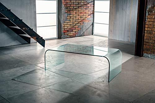 IMAGO FACTORY Grace | Mesa Salon de Cristal - Mesa de Vidrio Moderna, Mesa Centro Salon Made in Italy, Muebles de Salón en Vidrio, Diseño Moderno, 110 cm x 10 mm