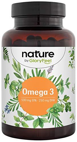 GloryFeel® Omega 3 - Cápsulas con 1000mg de Aceite de Pescado - 500mg EPA y 250mg DHA - Ácidos grasos esenciales Omega 3 - Hecho en Alemania