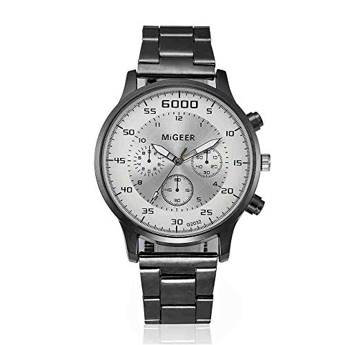 DECTN Reloj de Pulsera Mejor Venta Reloj HombreModa Hombre Cristal Acero Inoxidable Relojes de Pulsera de Cuarzo analógico Erkek KOL i Reloj, 3