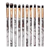 Demarkt - Juego de pinceles de maquillaje para sombra de ojos, labios, maquillaje, 10 piezas, diseño de mármol, color blanco